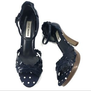 Steve Madden Blue Patent Leather Open Strap Heels